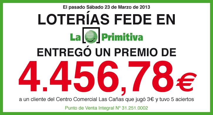 Loterías Fede entrega un premio de La Primitiva de 4.456,78 euros
