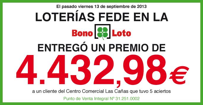 Loterías Fede entrega un premio de La Bono Loto de 4.432,98 euros