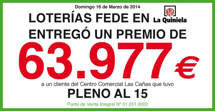 Loterías Fede entrega un premio en La Quiniela de 63.977 euros