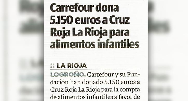 Carrefour dona 5.150 euros a Cruz Roja La Rioja para alimentos infantiles